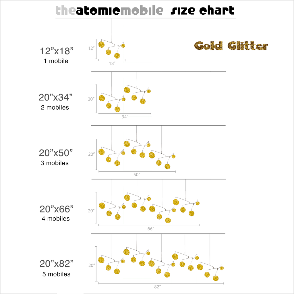 Gold Glitter Size Chart for Atomic Mobiles - kinetic hanging art mobiles by AtomicMobiles.com