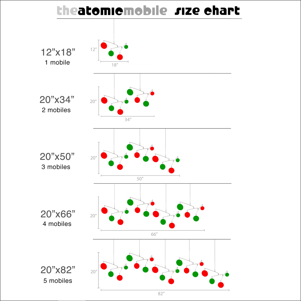 Size Chart for The Atomic Mobile -  hanging art mobiles in festive Christmas colors of red and green by AtomicMobiles.com