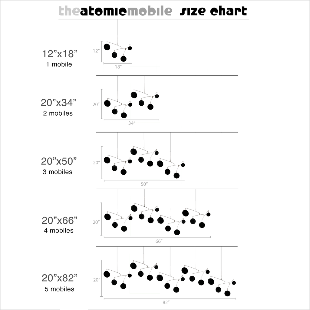 Size Chart for The Atomic Mobile - hanging kinetic art mobiles - by AtomicMobiles.com