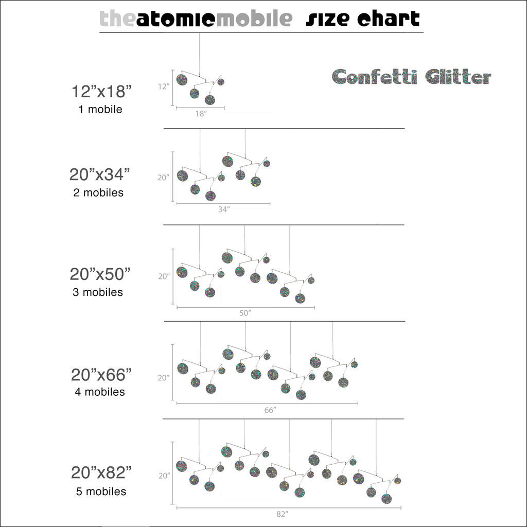 Confetti Glitter Size Chart for Atomic Mobiles - kinetic hanging art mobiles by AtomicMobiles.com