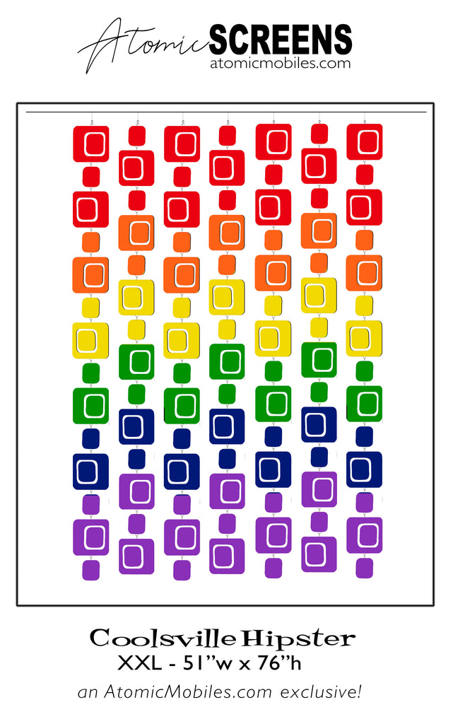 LGBTQ Rainbow Pride Coolsville Hipster Atomic Screens - Midcentury Modern Room Dividers in XXL Size by AtomicMobiles.com