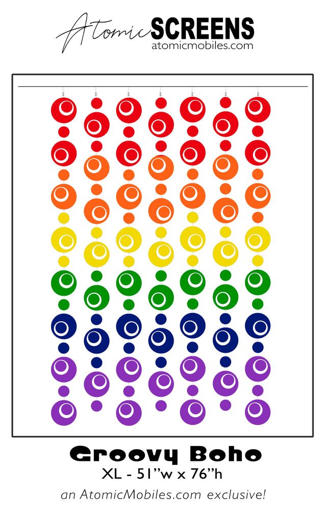 LGBTQ Rainbow Pride Groovy Boho Atomic Screens in XL Size - Midcentury Modern Room Dividers by AtomicMobiles.com