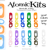 Gorgeous Clear Color Chart for Atomic Kits Parts reflecting against the wall - room dividers and art by AtomicMobiles.com