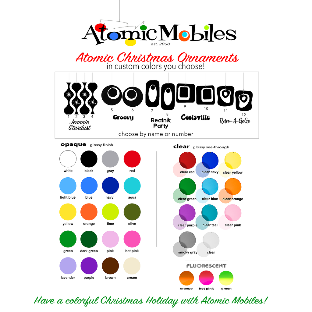 Alternative to Red and Green! Custom Colors for Retro Mid Century Modern Holiday Christmas Ornaments - Choose Your Colors! by AtomicMobiles.com
