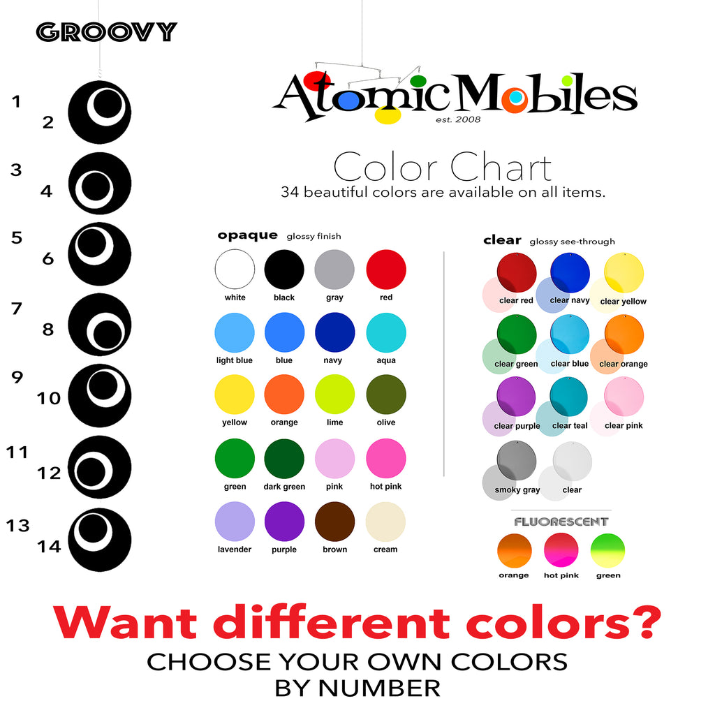 Groovy Color Chart for vertical. hanging art mobiles by AtomicMobiles.com