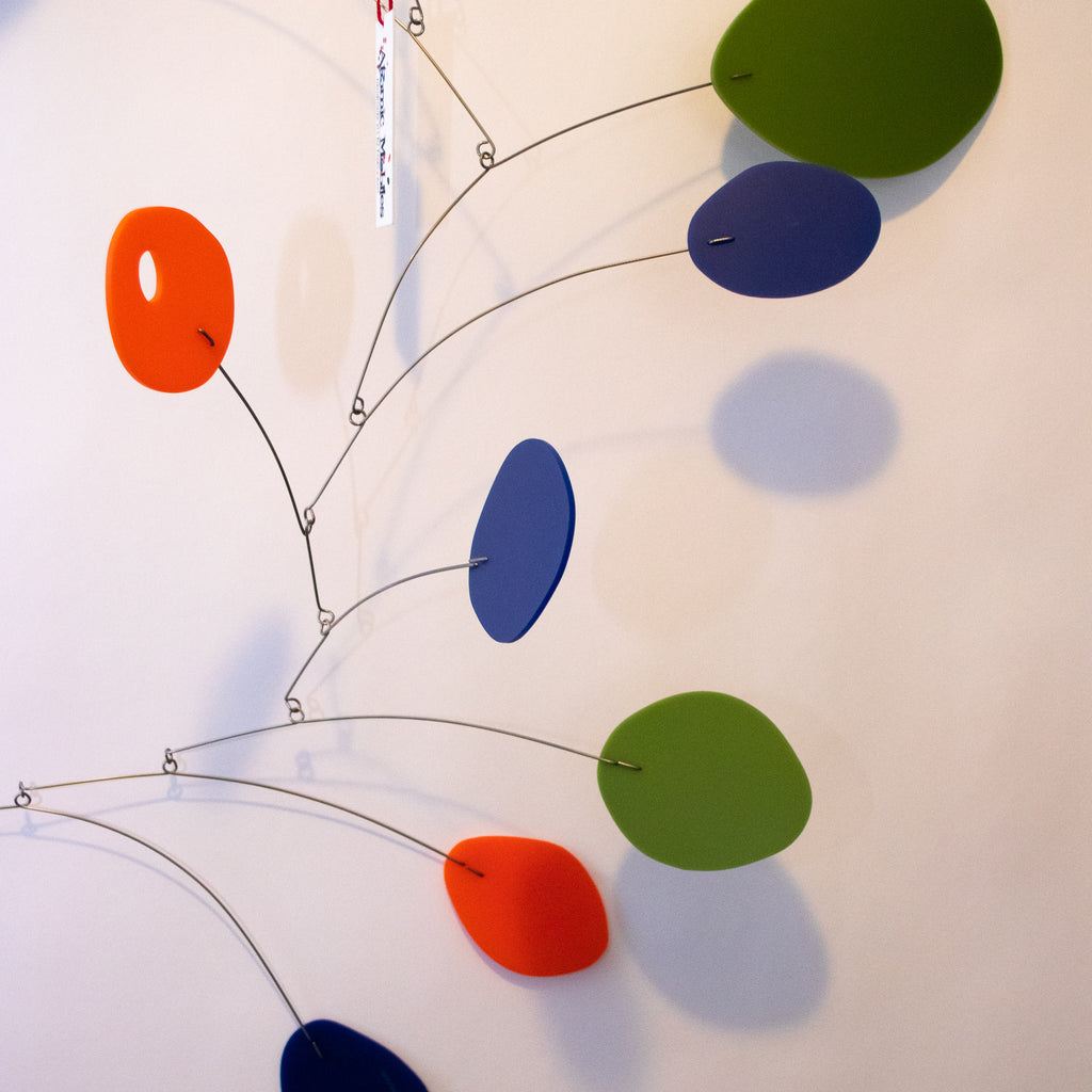 Closeup of Lovely Large MCM Modern Art Mobile in navy, olive, and orange - Ready to Ship!