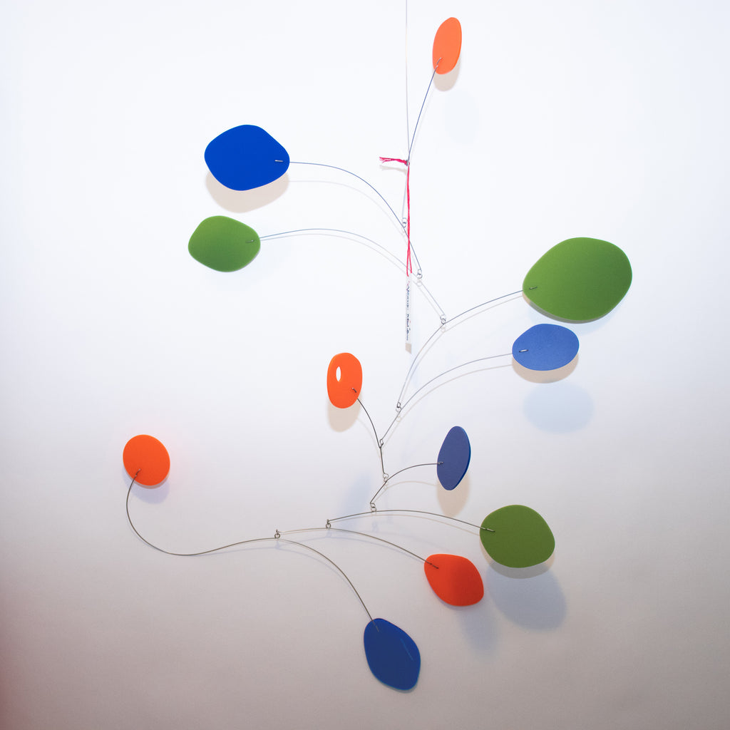 Lovely Large MCM Modern Art Mobile in navy, olive, and orange - Ready to Ship!