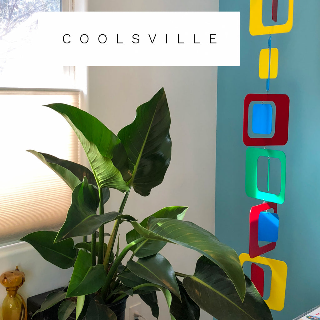 Beautiful Mid Century Modern Style Colorful Coolsville Vertical Hanging Art Mobile by AtomicMobiles.com