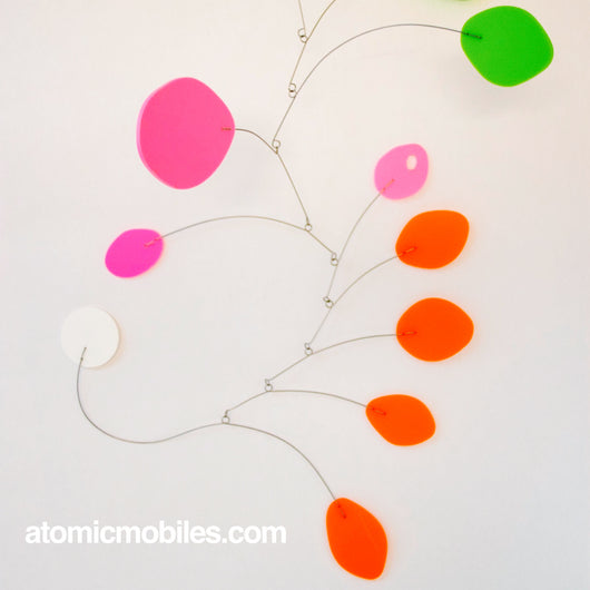 Delightful Bright MCM Hanging Art Mobile in Pink Lime Orange - READY TO SHIP TODAY!