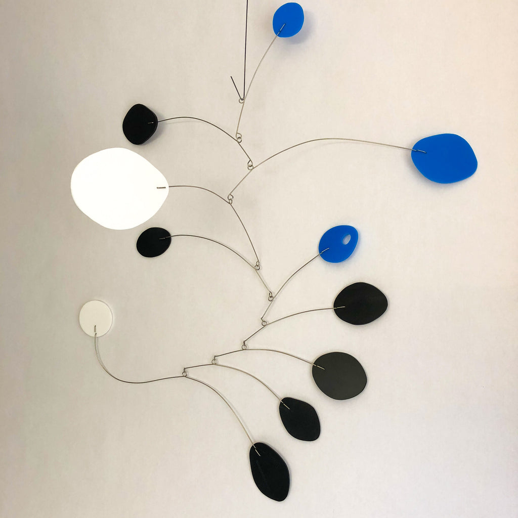 "The MCM Blue, Black and White Mid Century Modern Hanging Mobile Medium Size 24""w x 26""h"
