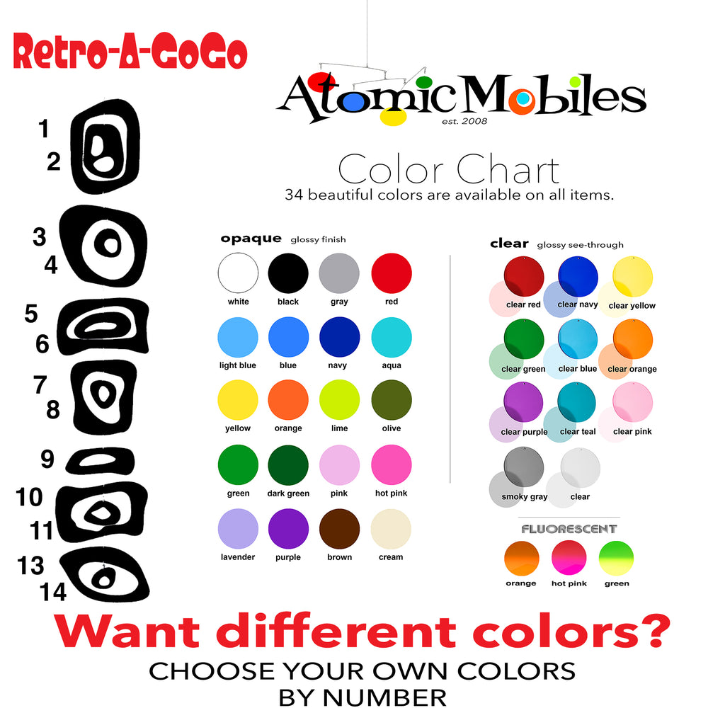 Retro-A-GoGo Color Chart for Custom Colors for Vertical Hanging Art Mobile by AtomicMobiles.com