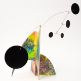 Overview of colorful abstract kinetic art stabile - hand painted one of a kind - modern sculpture by AtomicMobiles.com