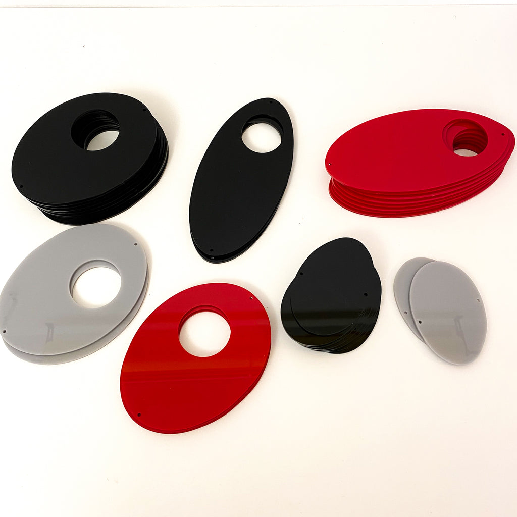 Parts for cool retro kinetic art piece DIY Kit  in red and black for wall art, mobiles, or room dividers by AtomicMobiles.com