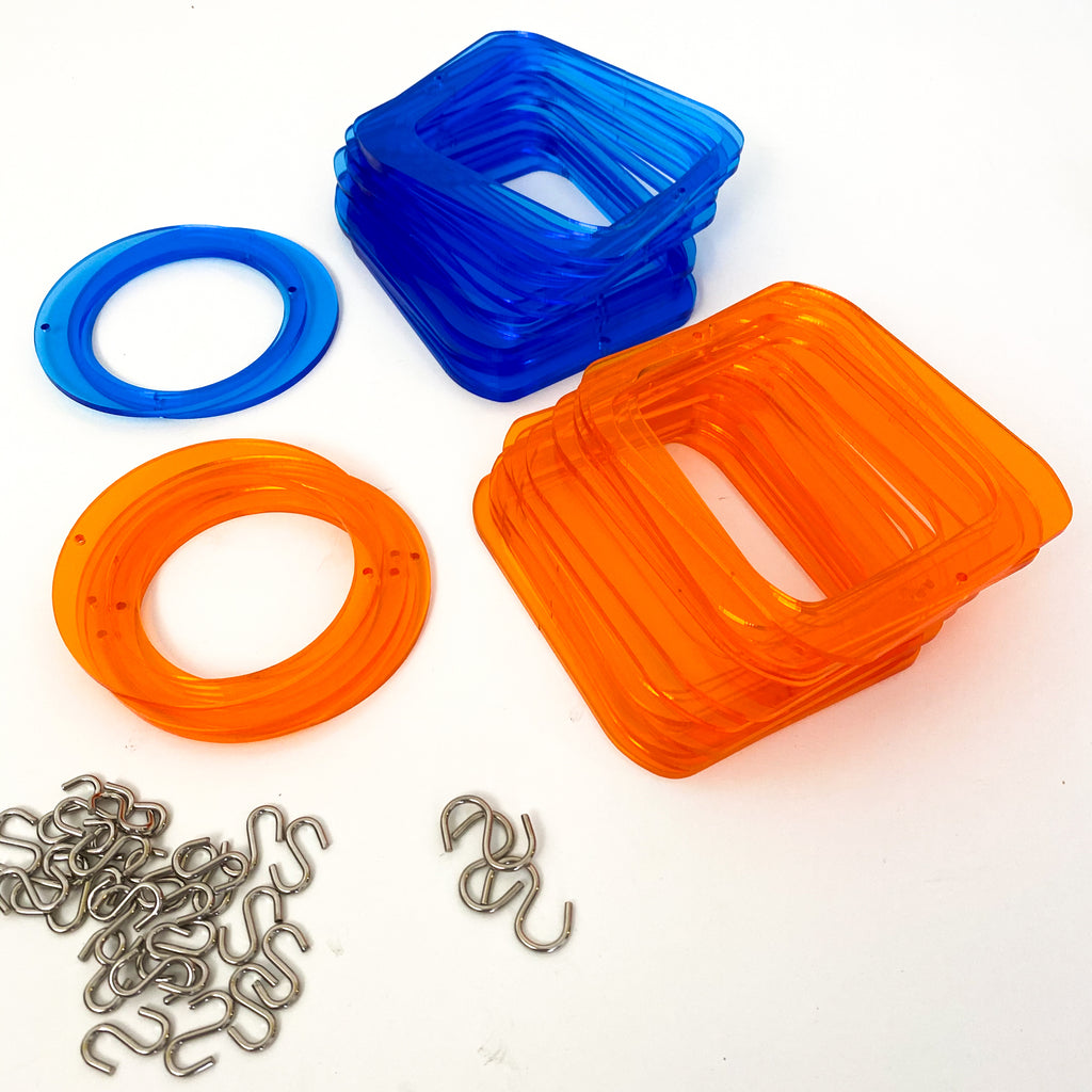 Parts for cool retro kinetic art piece in orange and blue  for wall art, mobiles, or room dividers by AtomicMobiles.com