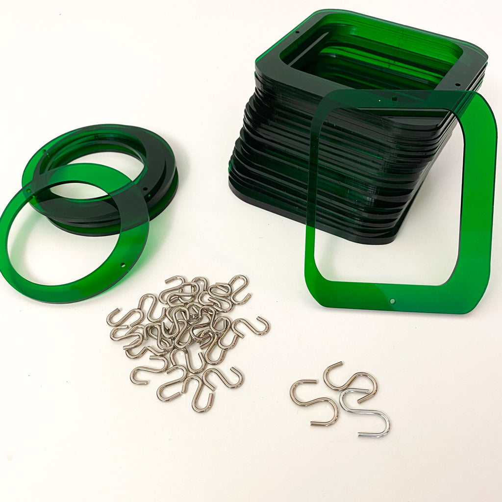 Parts for cool retro kinetic art piece DIY KIT in green for wall art, mobiles, or room dividers by AtomicMobiles.com