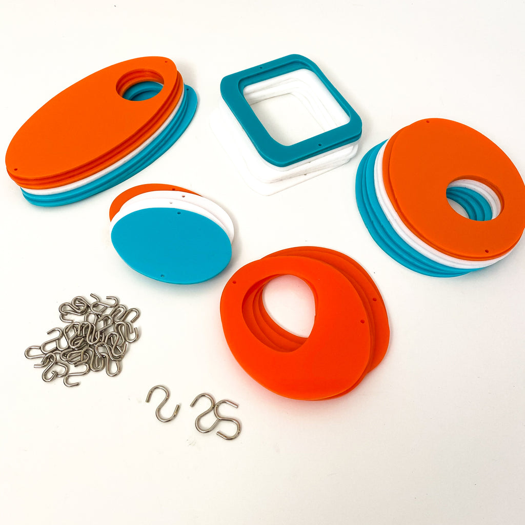 Parts for cool retro kinetic art piece in orange, white, and  aqua for wall art, mobiles, or room dividers by AtomicMobiles.com