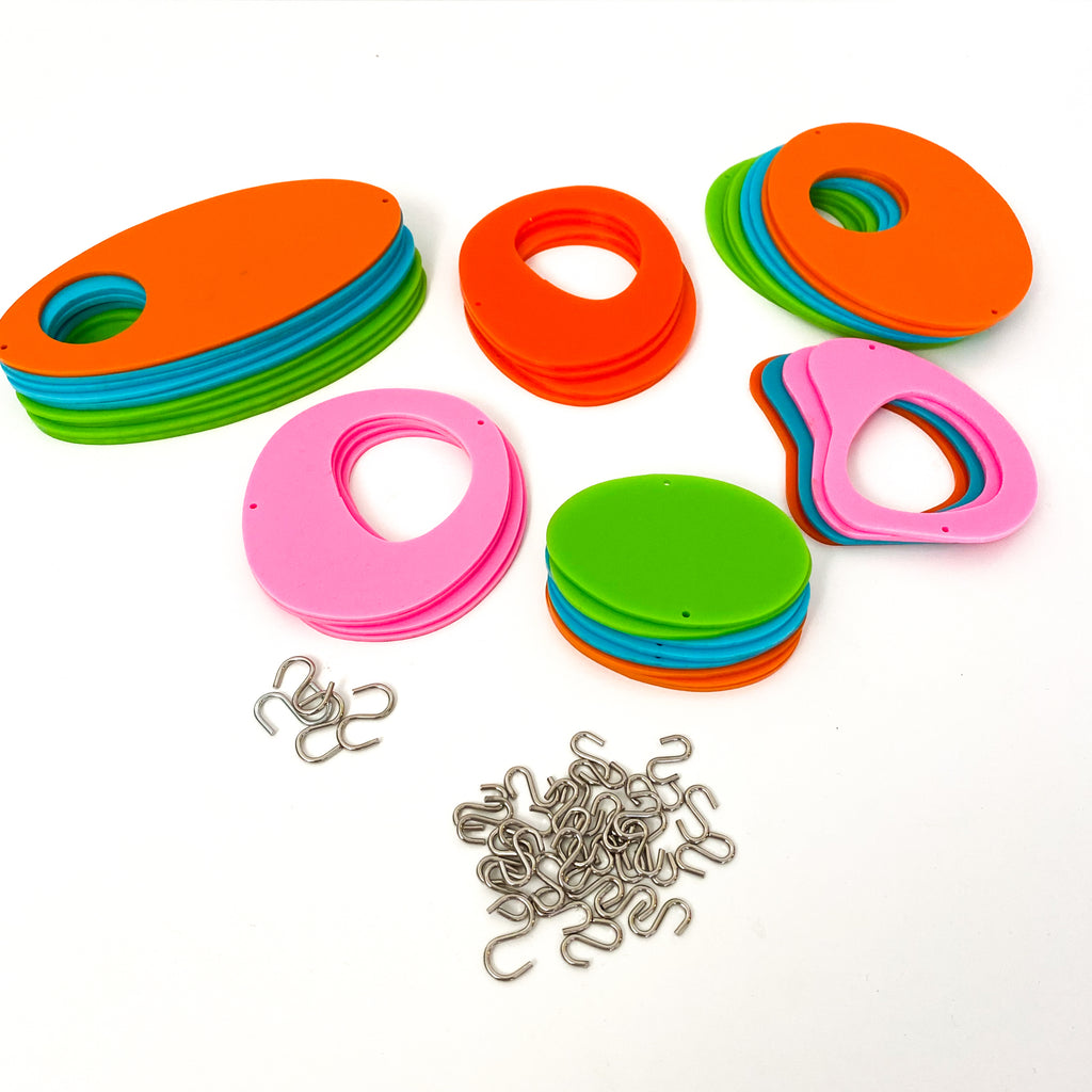 Parts for DIY cool retro kinetic art piece Kit  in orange, pink, lime, and  aqua for wall art, mobiles, or room dividers by AtomicMobiles.com