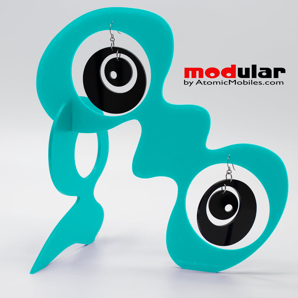 Handmade Groovy style earrings and stabile kinetic modern art sculpture in Aqua and Black by AtomicMobiles.com