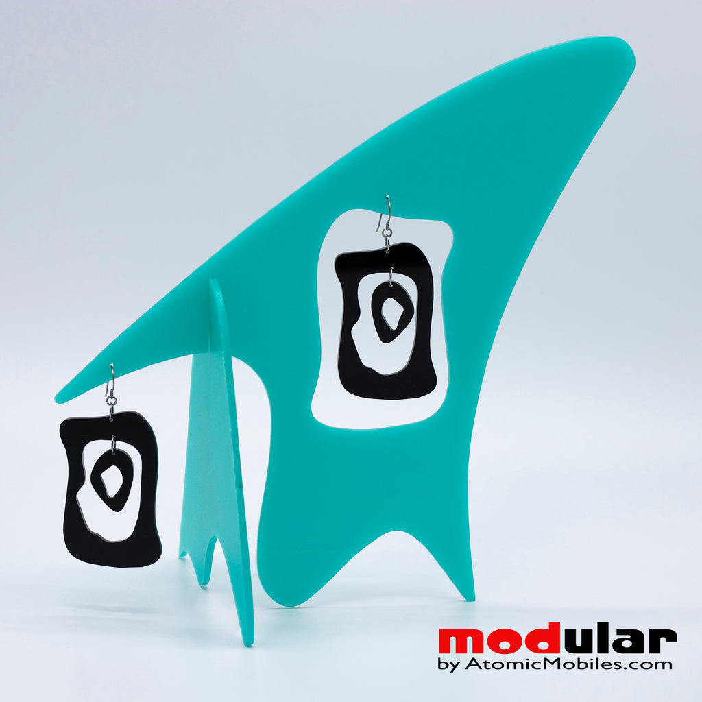 Handmade Modern Bliss midcentury retro style earrings and stabile kinetic modern art sculpture in Aqua and Black by AtomicMobiles.com