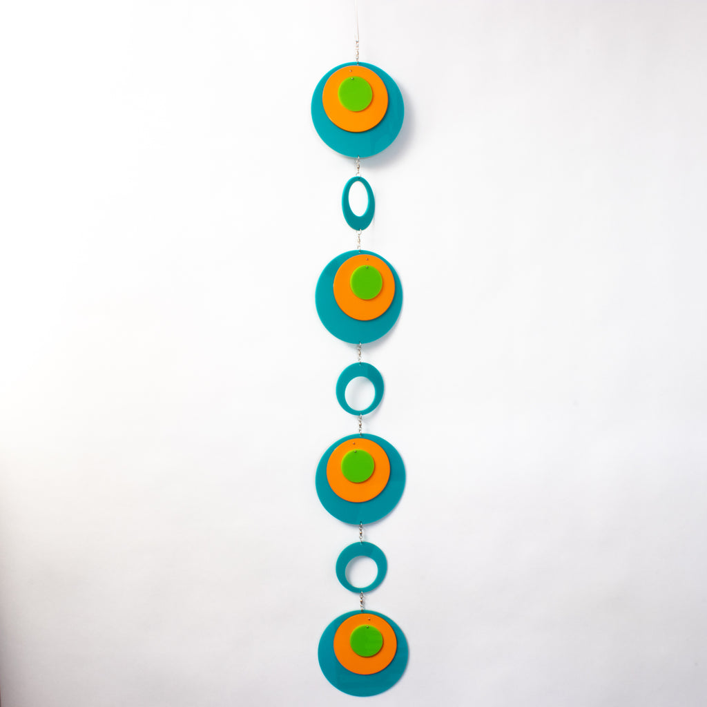 Beautiful Palm Springs Wall Art Mobile in Aqua Blue, Orange, and Lime Green by AtomicMobiles.com