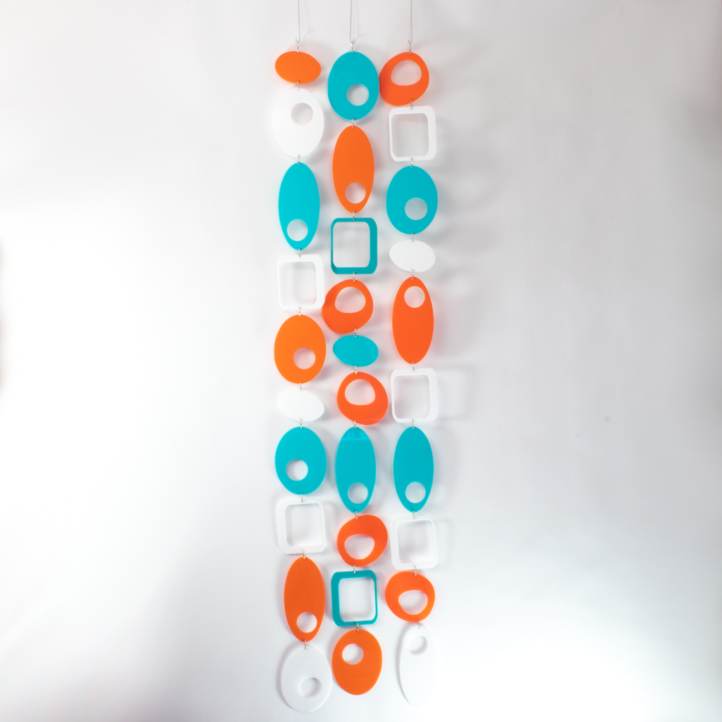 Palm Springs Colors of Orange, Aqua, and White - DIY Kit to make room divider, window treatment, wall art, or mobile! by AtomicMobiles.com