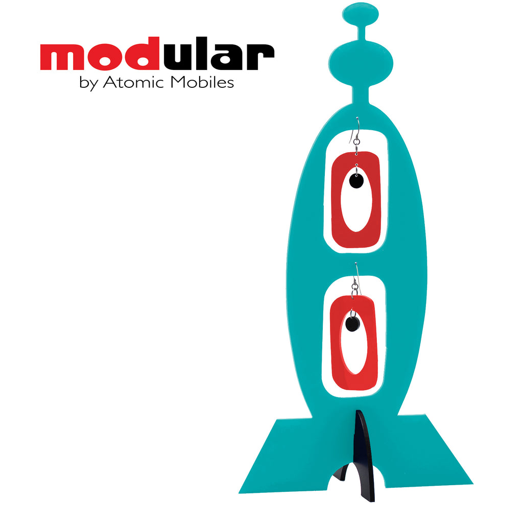 MODular Earrings + Stabile modern art sculpture in aqua red black by AtomicMobiles.com