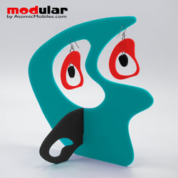 Handmade Boomerang Retro style earrings and stabile kinetic modern art sculpture in Aqua Red and Black by AtomicMobiles.com