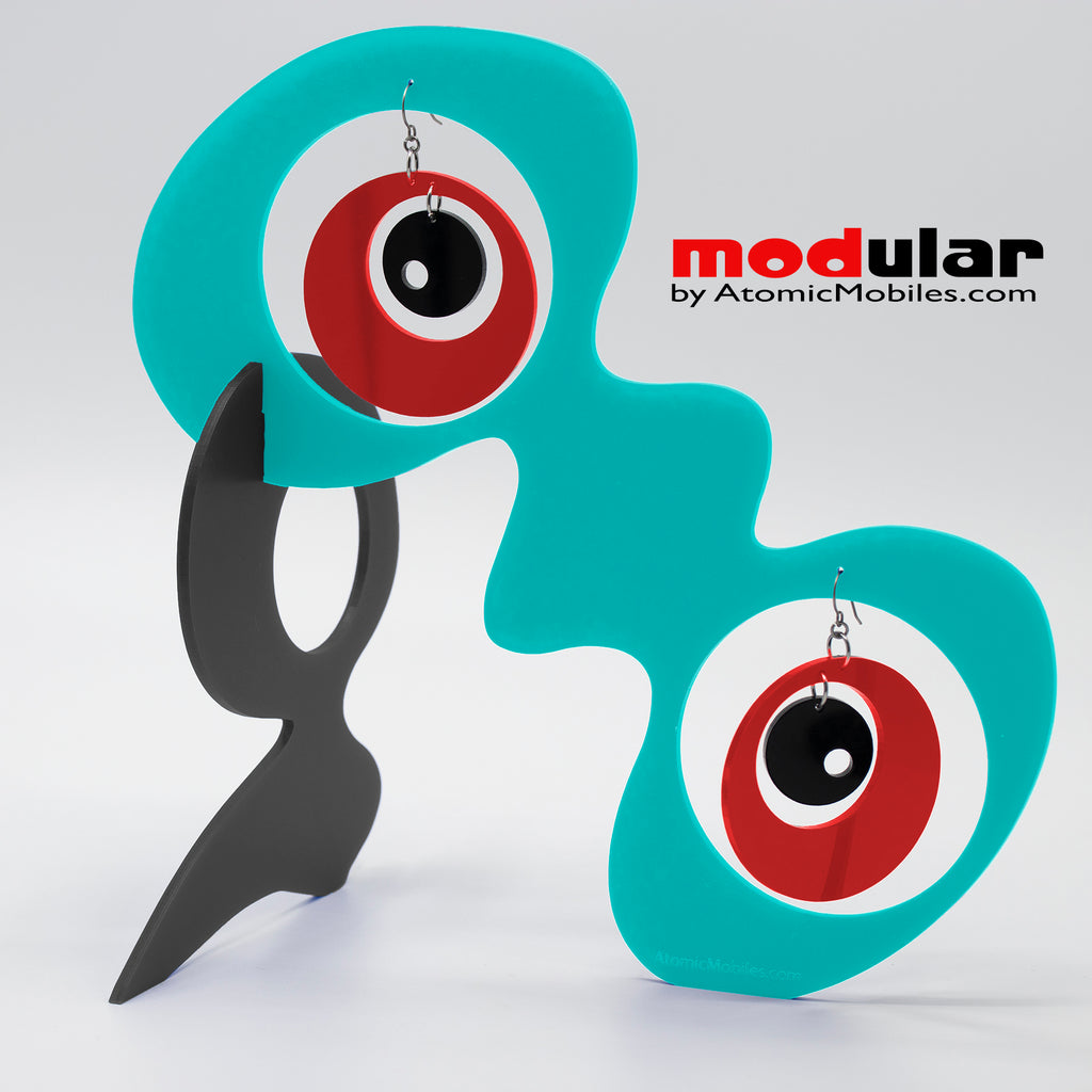 Handmade Groovy style earrings and stabile kinetic modern art sculpture in Aqua Red and Black by AtomicMobiles.com