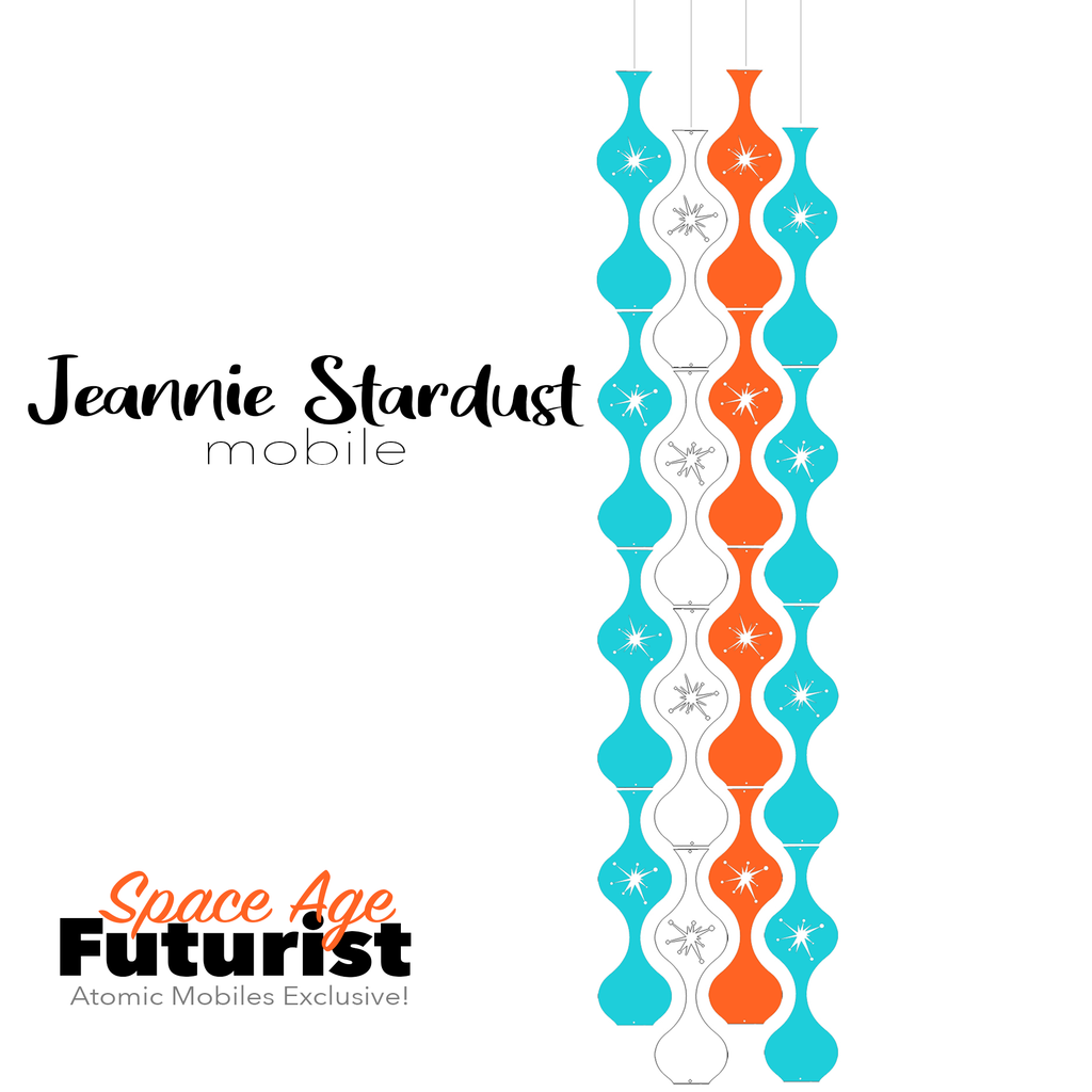 Space Age Futurist Jeannie Stardust Hanging Art Mobile - mid century modern home decor in Aqua White and Orange - by AtomicMobiles.com