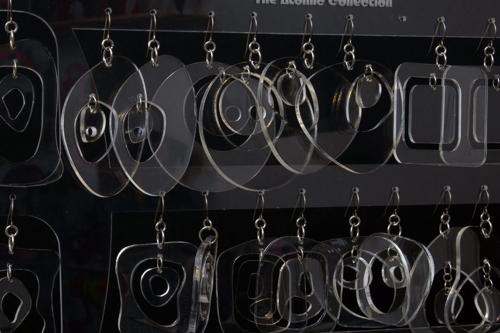 Clear Lucite Mod Earrings by AtomicMobiles.com - retro earrings set becomes an art sculpture with earring holder