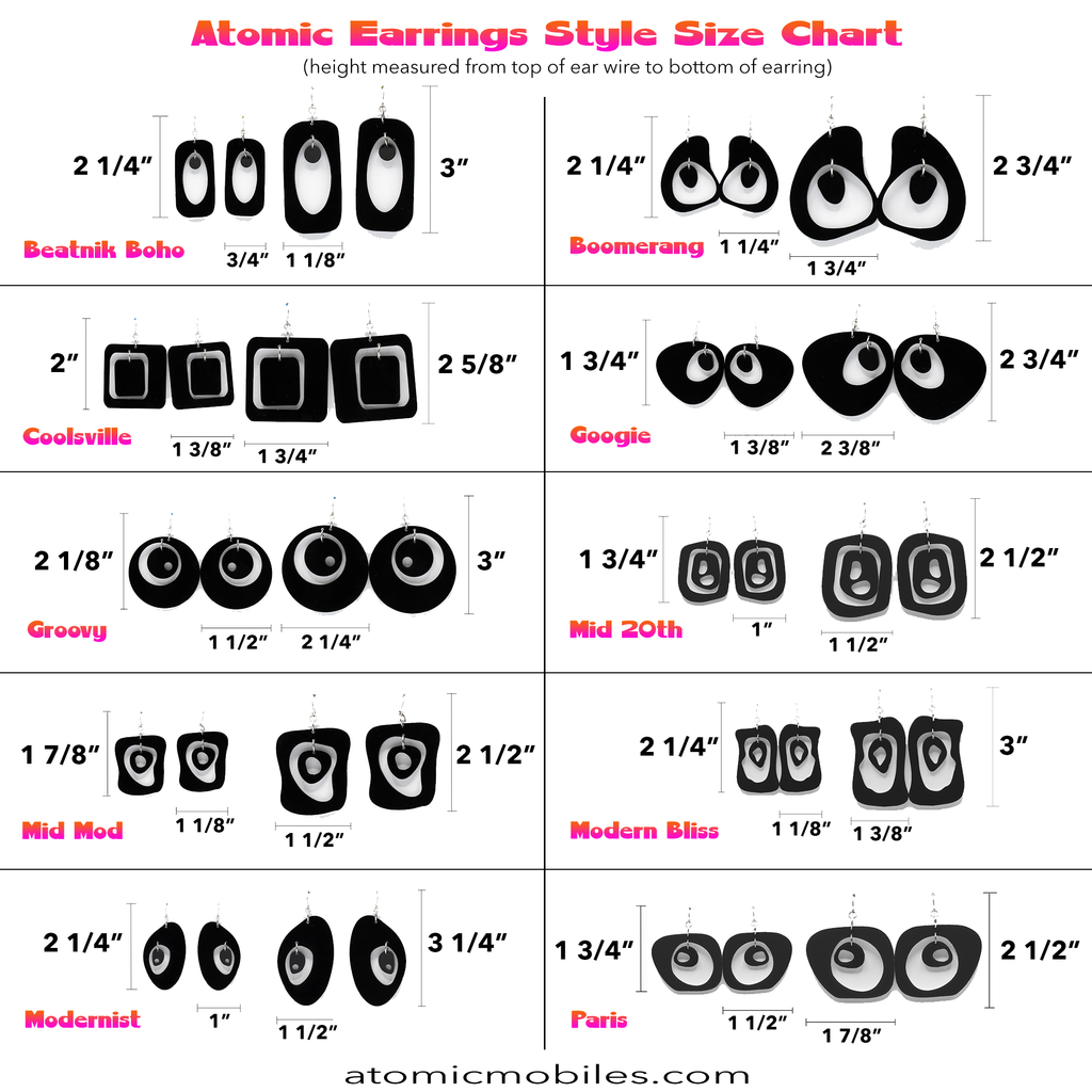 Atomic Earrings Style Size Chart by AtomicMobiles.com