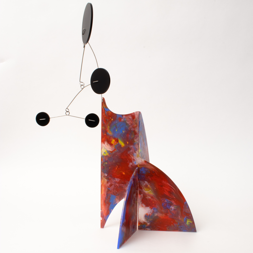 Style in motion - beautiful hand painted kinetic art mobile by AtomicMobiles.com - one of a kind abstract modern art