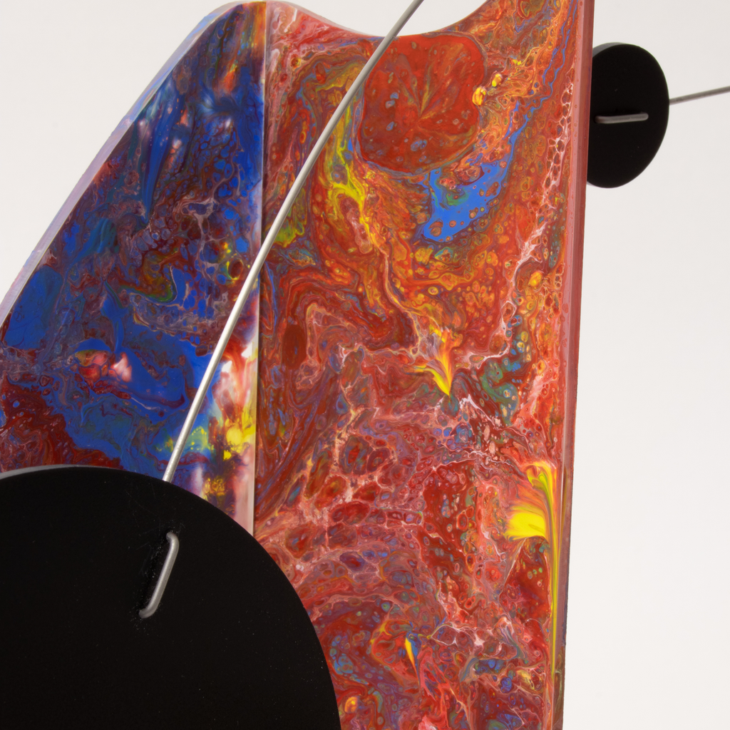 Swirly colors in this beautiful hand painted kinetic art mobile by AtomicMobiles.com - one of a kind abstract modern art