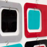 Closeup of Coolsville Room Divider Screen in Gray, Black, Red and Aqua by AtomicMobiles.com