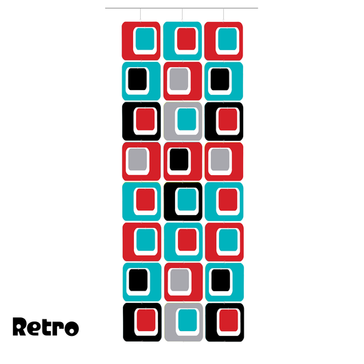 Large Coolsville Room Divider Screen Kit in Red, Aqua, Black, and Gray by AtomicMobiles.com