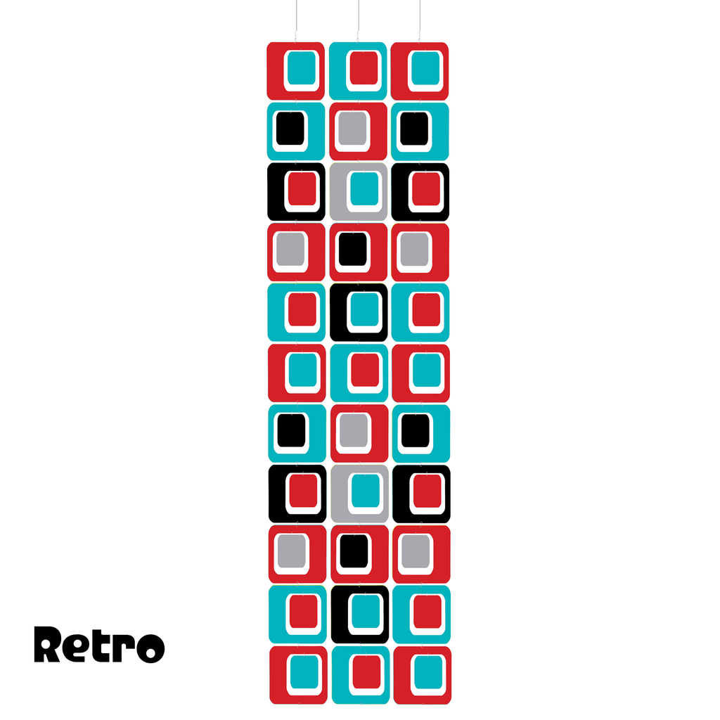 RETRO Coolsville Atomic Room Dividing Screen Kit in Red, Aqua, Black, and Gray by AtomicMobiles.com