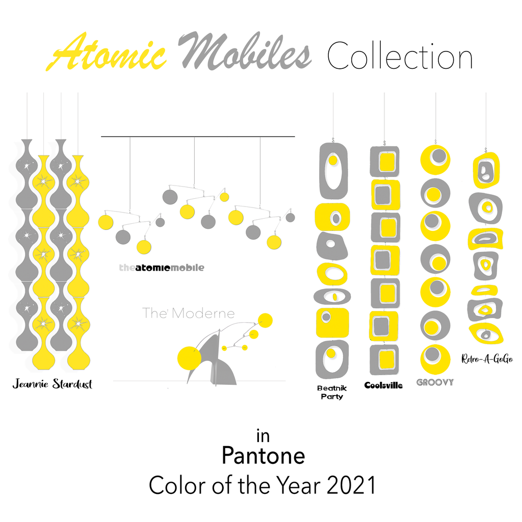 Atomic Mobiles Collection Styles in PANTONE Color of the Year 2021 yellow and gray by AtomicMobiles.com