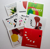 Set of 8 colorful fun stickers featuring AtomicMobiles.com mobiles and stabiles, designed by owner Debra Ann