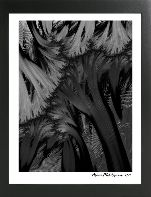 Atomic Print of Dramatic Black + White Abstract Art by Debra Ann of AtomicMobiles.com