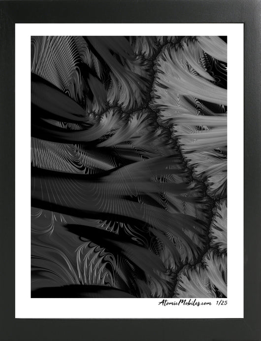 Atomic Print of Dramatic Modern Black + White Abstract Art by Debra Ann of AtomicMobiles.com
