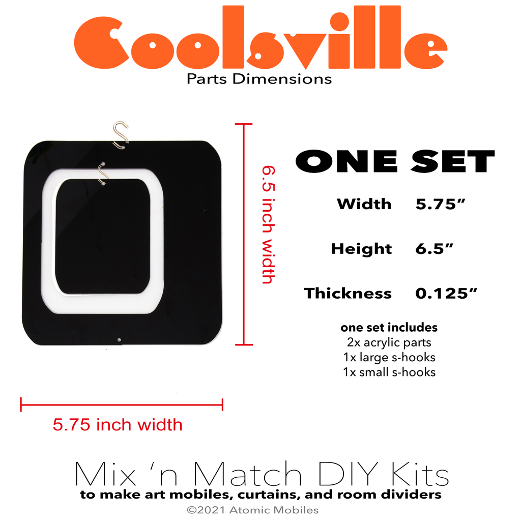 Coolsville Parts Dimensions for One Set for mix 'n match DIY kits to make hanging art mobiles, room dividers, and curtains by AtomicMobiles.com