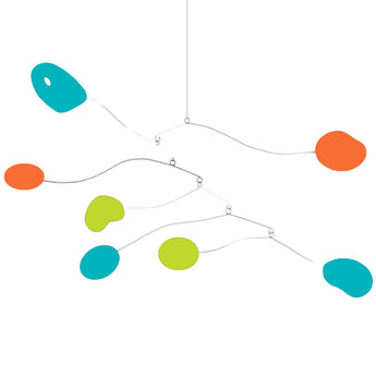 Atomica Kinetic Mobile - Palm Springs colors orange aqua lime green - by AtomicMobiles.com