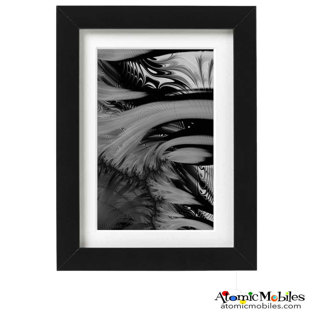 Utopia black and white dramatic abstract art print by Debra Ann of AtomicMobiles.com - Limited Edition 100 signed and numbered