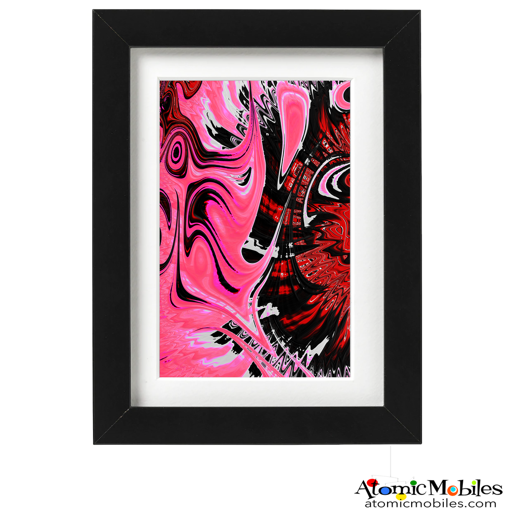 rose glasses abstract art print by artist Debra Ann of AtomicMobiles.com - rose, pink, hot pink, black, redcolorful art