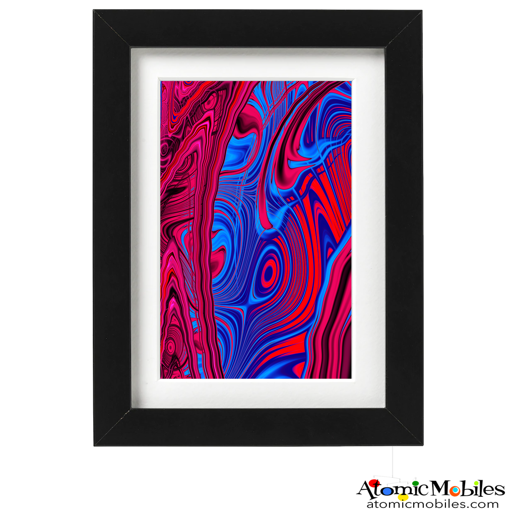 contain abstract art print by artist Debra Ann of AtomicMobiles.com - red and blue colorful art
