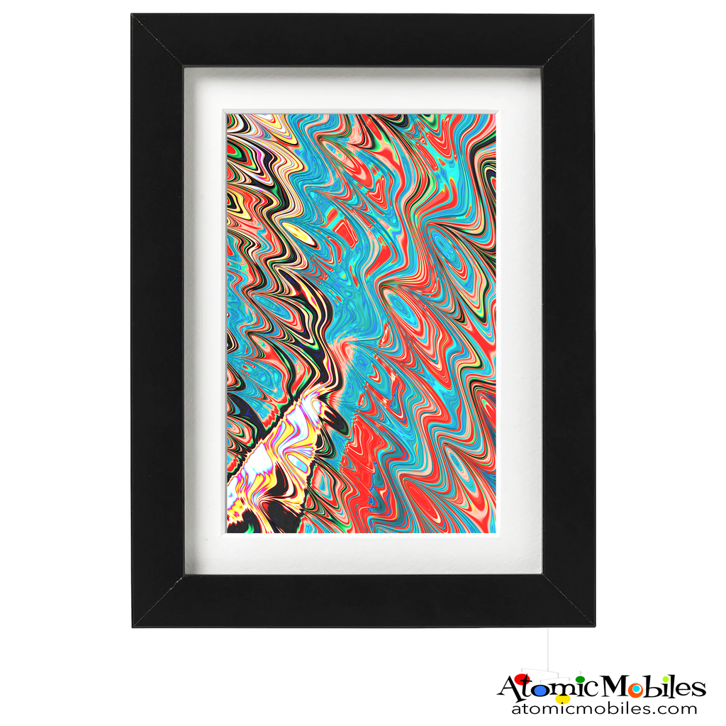enactment abstract art print by artist Debra Ann of AtomicMobiles.com - blue, teal, black, red, yellow colorful art
