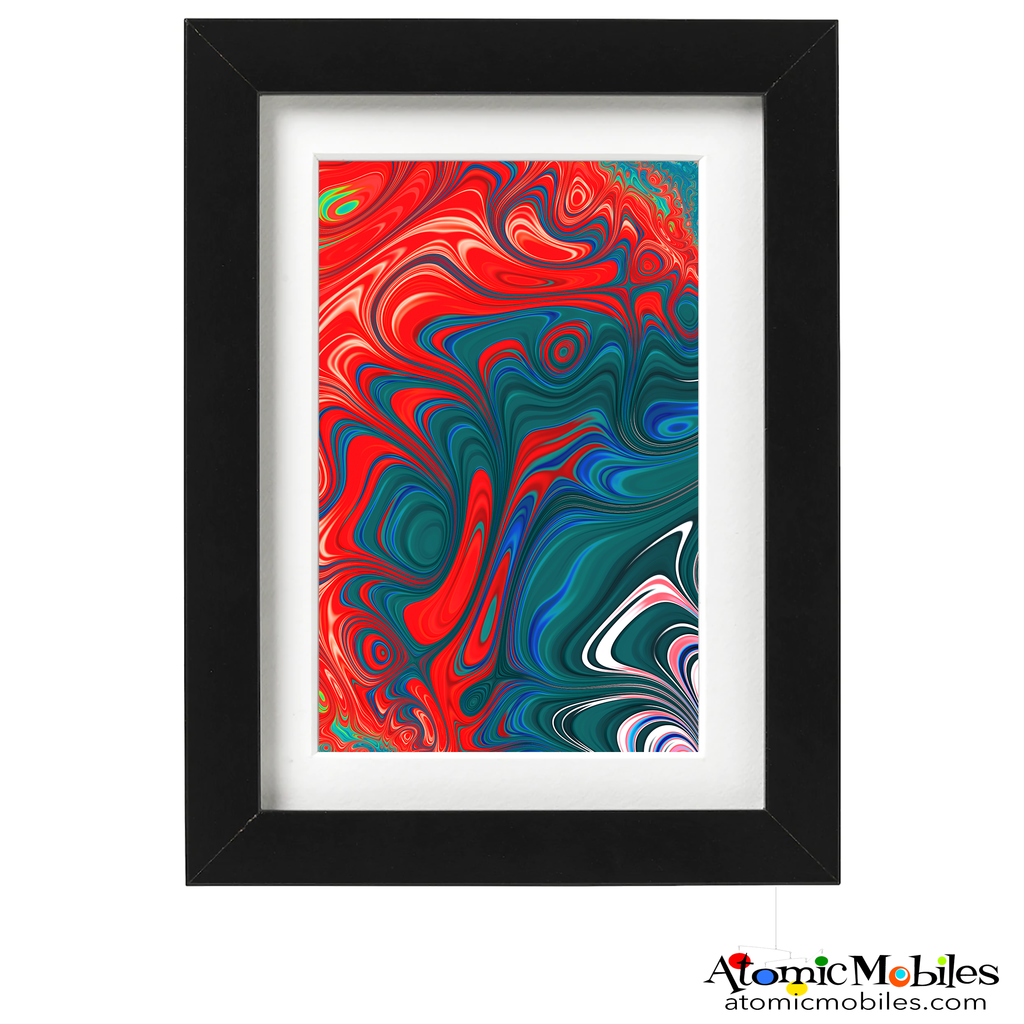 realm abstract art print by artist Debra Ann of AtomicMobiles.com - red, blue, green, white  colorful art