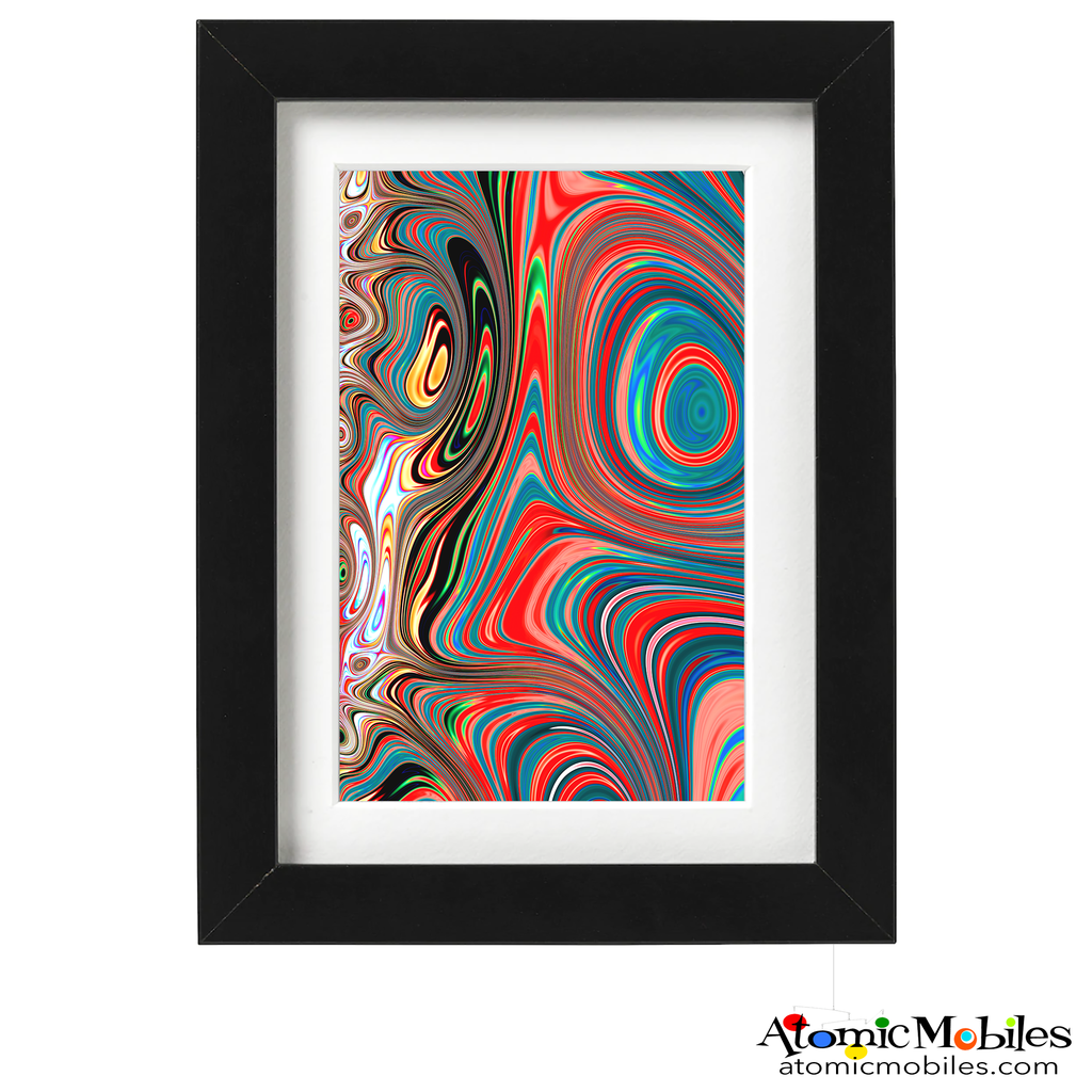 influence abstract art print by artist Debra Ann of AtomicMobiles.com - aqua, red, and multi color colorful art