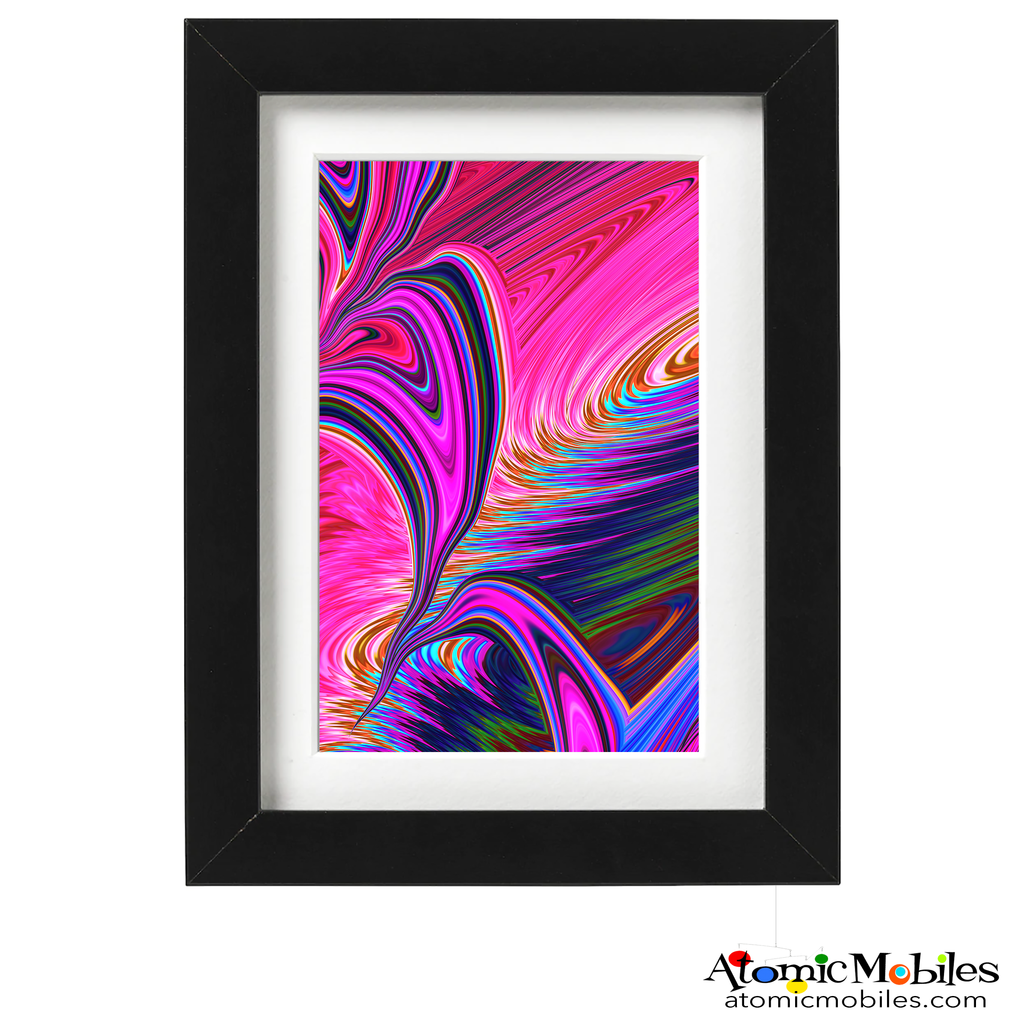 freedom abstract art print by artist Debra Ann of AtomicMobiles.com - hot pink, purple, greencolorful art