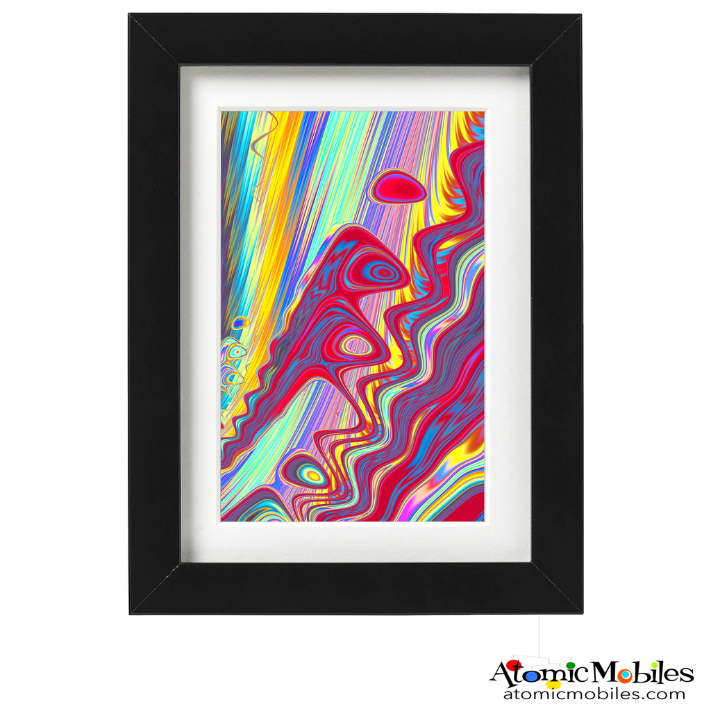 rethink abstract art print by artist Debra Ann of AtomicMobiles.com - hot pink, yellow, blue, purple, green colorful art
